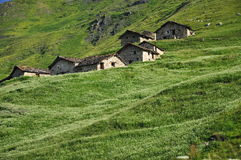Traditional mountain huts, Italian Alps, Aosta Valley. Royalty Free Stock Image