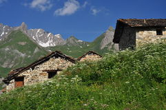 Traditional mountain huts, Italian Alps, Aosta Valley. Royalty Free Stock Images