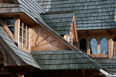 Traditional mountain style roof in zakopane Royalty Free Stock Photos