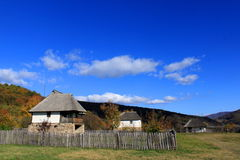 Traditional mountain village in Romania. Traditional rural romanian house. Mountain village of Ramnicu-Valcea, Prahova Valley Royalty Free Stock Image