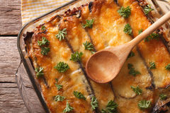 Traditional moussaka close up in baking dish. horizontal top vie royalty free stock image