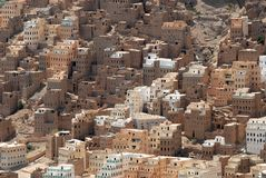 Traditional mud bricks buildings of Seiyun city,  Hadramaut valley, Yemen Stock Images