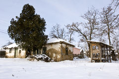 Traditional mud built farmhouse in winter Stock Images