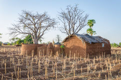 Traditional mud an clay housing of the Tata Somba tribe of nothern Benin and Togo, Africa. The fortress like build was to defend against slave raiders royalty free stock images