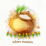 Traditional mud pot for Pongal celebration. Royalty Free Stock Images