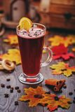 Traditional mulled wine with spices, cinnamon and lemon. Autumn atmosphere picture Royalty Free Stock Photography