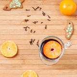 Traditional mulled wine with spices. Top view Royalty Free Stock Photography