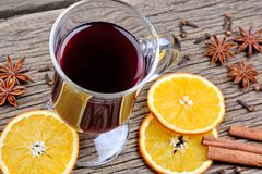 Traditional mulled wine with spices. On table Royalty Free Stock Image