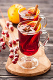 Traditional mulled wine with spices Royalty Free Stock Image