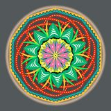Multi-colored oriental vintage pattern with arabesques floral elements, mandala vector illustration