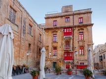 Malta. Traditional balconies on the houses. Traditional multi-colored wooden balconies on the houses. Valletta. Malta Stock Image