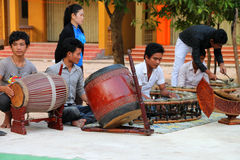 Traditional music class. SIEMREAP, KHMER REPUBLIC - FEBRUARY 10 : The unidentified orphan and vulnerable children are in traditional music class on February 10 Stock Images