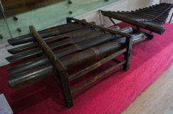 Traditional music instrument made from bamboo at Kota Tua museum photo taken in Jakarta Indonesia Stock Photo