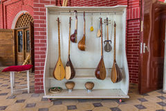 Traditional musical instruments in Tashkent, Uzbekistan. Traditional musical instruments handmade for sale at the Chorsu Bazaar in Tashkent, Uzbekistan Stock Images