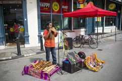 Traditional musical road performance, Penang, Malaysia Stock Photo