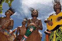 Traditional Musician of Papua Stock Photo
