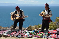 Traditional musicians from Peru stock images
