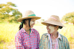 Traditional Myanmar female farmers Stock Images