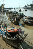 Traditional Myanmar fishingboat on estuary in Kyaikto city. Royalty Free Stock Images