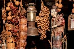 Traditional Myanmar puppet doll Burmese marionettes. Street market at mon bridge represent thailand tourism stock photography