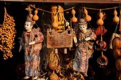 Traditional Myanmar puppet doll Burmese marionettes. Street market at mon bridge represent thailand tourism royalty free stock photos