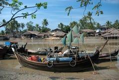 Traditional Myanmar village on estuary in Kyaikto city. Royalty Free Stock Image