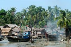 Traditional Myanmar village on estuary in Kyaikto city. Royalty Free Stock Photography