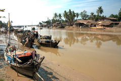Traditional Myanmar village on estuary in Kyaikto city,Myanmar. Stock Images