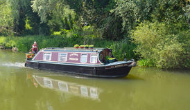 Traditional Narrow boat on the river Ouse at Buckden Marina Cambridgeshire. stock image