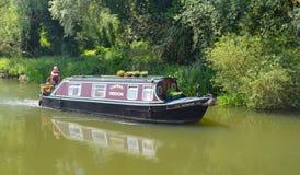 Traditional Narrow boat on the river Ouse at Buckden Marina Cambridgeshire. Stock Image