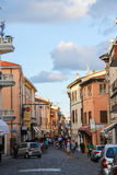 Traditional narrow street in the historic center of Rimini Royalty Free Stock Photography