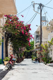Traditional narrow street in Paleochora town on Crete island, Greece Stock Photos