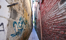 Traditional narrow street in Venice Stock Photo