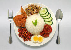 Traditional nasi lemak royalty free stock photo
