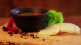 Traditional national dish first. Image of the first hot meal. stock footage