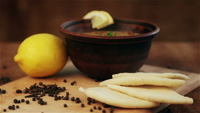 Traditional national dish first. Image of the first hot meal. stock video footage