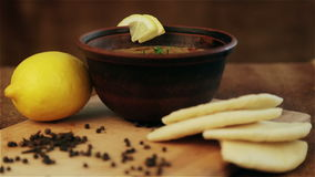 Traditional national dish first. Image of the first hot meal. stock video