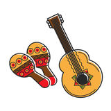 Traditional national Mexican instruments with ethnic pattern isolated illustrations Royalty Free Stock Image