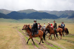 Traditional national nomad horse riding Stock Photo