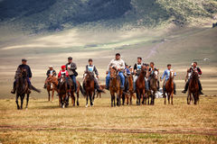 Traditional national nomad horse riding Stock Image