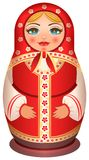 Traditional national painted wooden of Russian doll. Isolated on white vector cartoon illustration Royalty Free Stock Photos