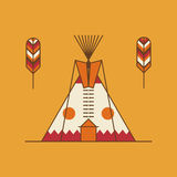 Traditional native american tipi and feathers Royalty Free Stock Photography
