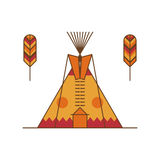Traditional native american tipi and feathers Royalty Free Stock Photos