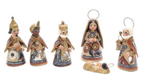 Traditional nativity scene with magic kings. Painted clay christmas decoration from Mexico stock photos