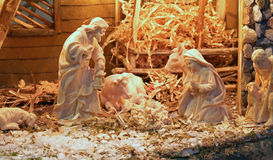 Traditional nativity scene with St. Joseph and the Virgin Mary a Stock Photos