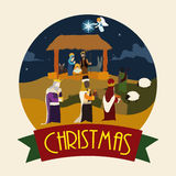 Traditional Nativity Scene with the Three Wise Men and Shepherd, Vector Illustration Stock Photo