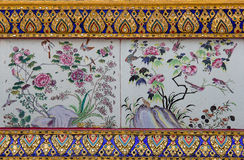 Traditional nature art of painting on Ancient wall of Thai templ Stock Photos