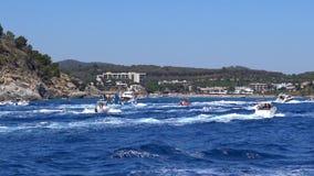 Traditional nautical procession of the Virgin del Carmen (saint of sailors) stock video
