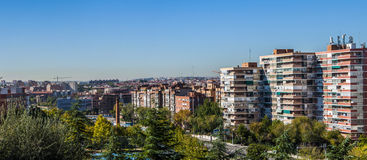 Traditional neighborhood in Madrid, Spain. Panoramic view of a sunny day in Legazpi neighborhood, Madrid Royalty Free Stock Images