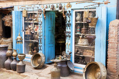 Traditional Nepalese Handicraft Shop Royalty Free Stock Photography